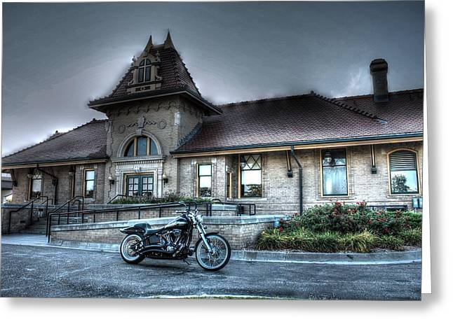 Train Depot Greeting Cards - Night Train Depot Greeting Card by Joseph Porey
