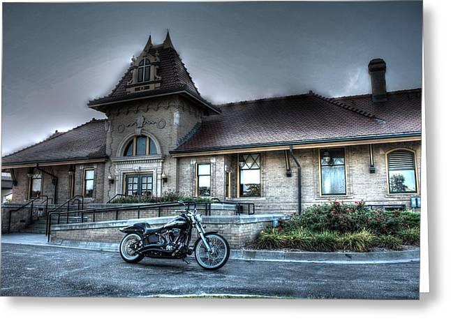 Night Train Depot Greeting Card by Joseph Porey