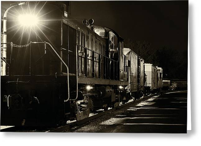 Night Lamp Greeting Cards - Night train Greeting Card by Kenneth Sponsler