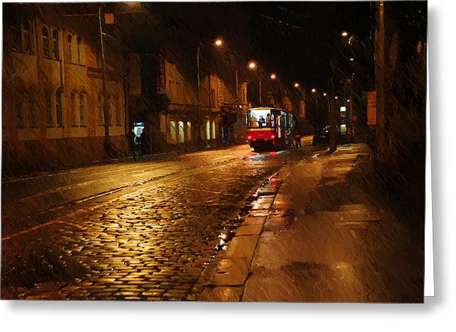The Houses Greeting Cards - Night Tram in Prague Greeting Card by Jenny Rainbow