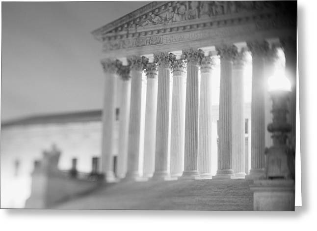 D.w Greeting Cards - Night Us Supreme Court Washington Dc Greeting Card by Panoramic Images