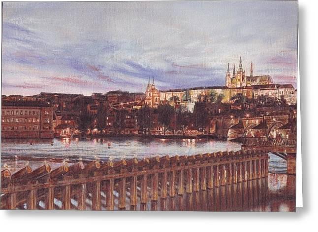 Prague Pastels Greeting Cards - Night View of Charles Bridge and Prague Castle Greeting Card by Gordana Dokic Segedin