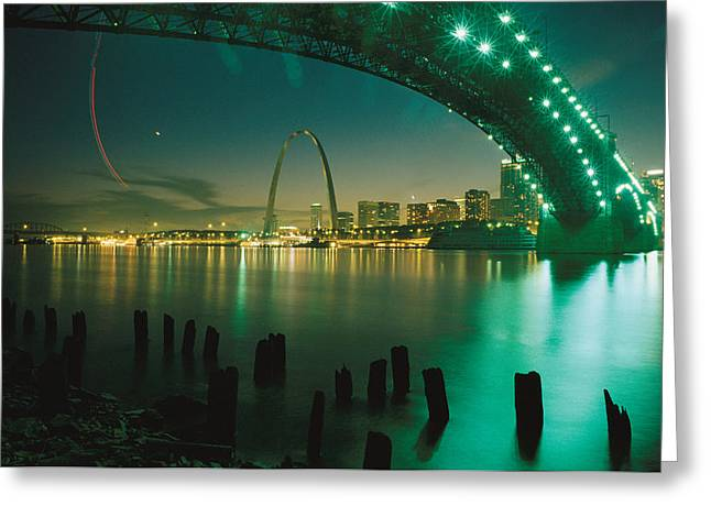 Mississippi River Scene Greeting Cards - Night View Of St. Louis, Mo Greeting Card by Michael S. Lewis