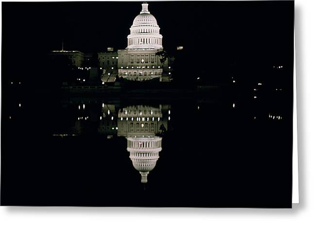 Night View of the Capitol Greeting Card by American School