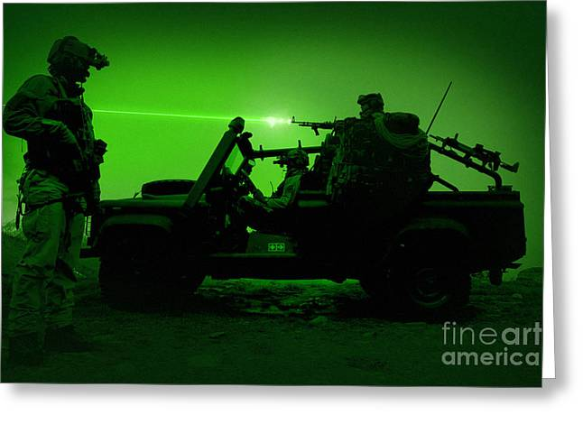 On The Lookout Greeting Cards - Night Vision View Of U.s. Special Greeting Card by Tom Weber