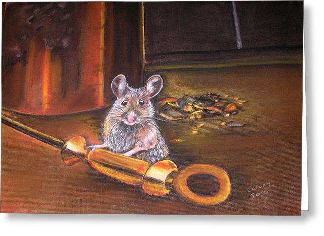 Mouse Pastels Greeting Cards - Night Visitor Greeting Card by Deborah Colony