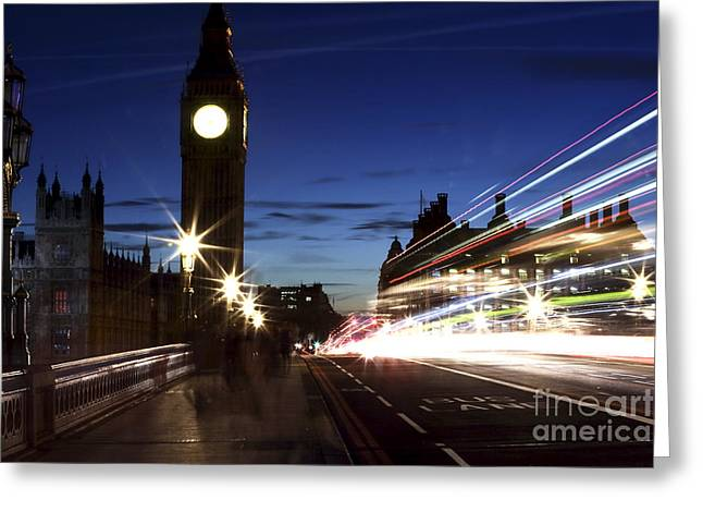 Night Shot Greeting Cards - Night Walk in Westminster Greeting Card by John Rizzuto