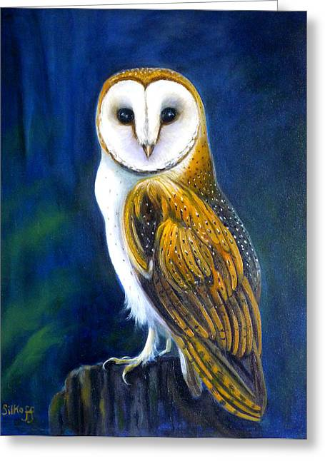 Nightwatch Greeting Cards - Night Watch Greeting Card by Janet Silkoff