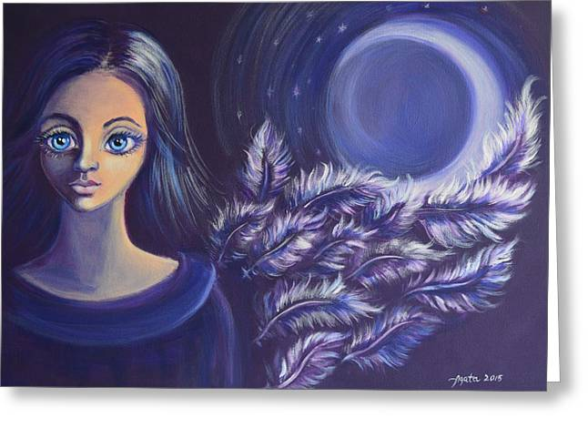 Night Angel Greeting Cards - Night Watcher Greeting Card by Agata Lindquist