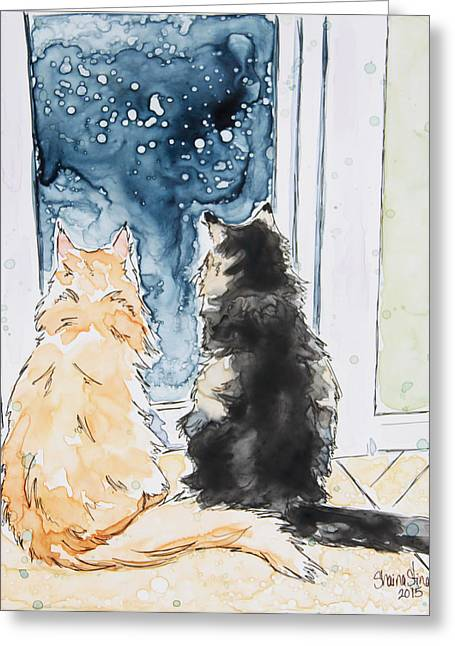 Pen And Paper Greeting Cards - Night Watchers Greeting Card by Shaina Stinard