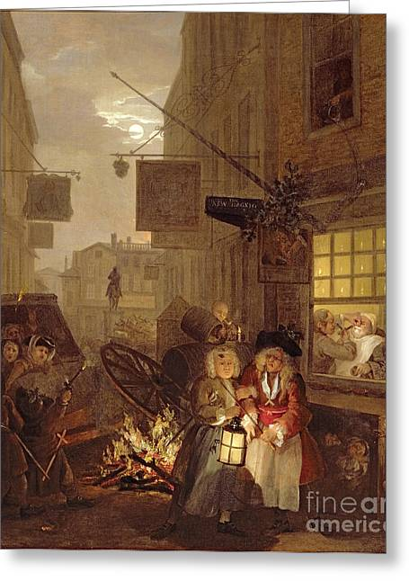 Apple Paintings Greeting Cards - Night Greeting Card by William Hogarth