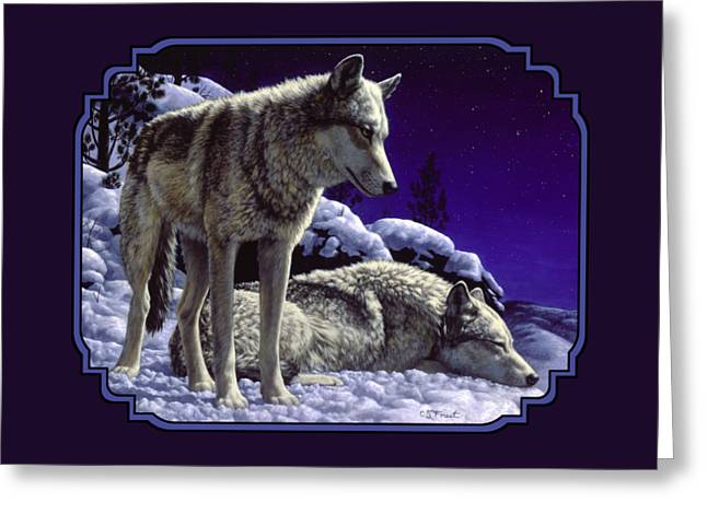Snowy Night Night Greeting Cards - Night Wolf iPhone Case Greeting Card by Crista Forest