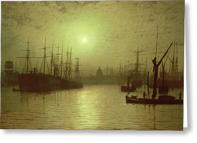 Grimshaw; John Atkinson (1836-93) Greeting Cards - Nightfall Down the Thames Greeting Card by John Atkinson Grimshaw