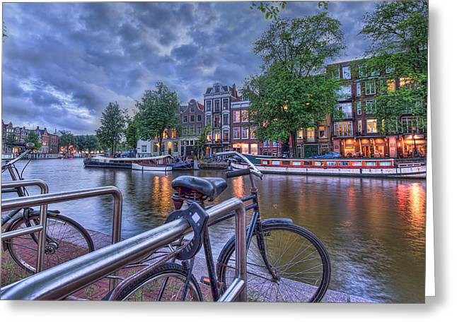 Night Cafe Digital Art Greeting Cards - Nightfall in Amsterdam Greeting Card by Nadia Sanowar