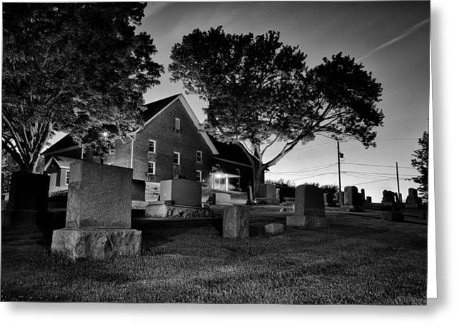 Occasion Greeting Cards - Nightfall on a Cemetery Greeting Card by Matt Hammerstein