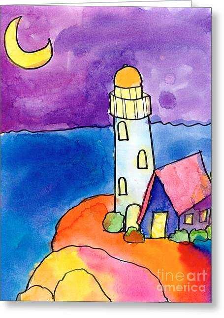 Recently Sold -  - Michelle Greeting Cards - Nighthouse Greeting Card by Michelle Malachowski Age Ten