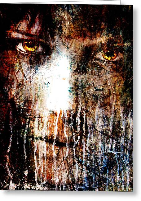 Fine Mixed Media Greeting Cards - Nights Eyes Greeting Card by Marian Voicu