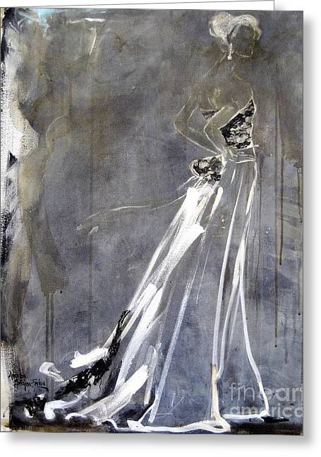 Evening Dress Mixed Media Greeting Cards - Nights In White Satin Greeting Card by Andrea Stajan-Ferkul