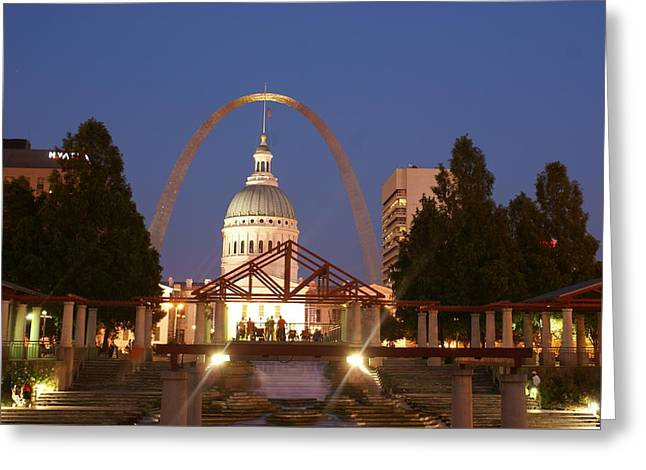 Marty Koch Greeting Cards - Nighttime at the Arch Greeting Card by Marty Koch