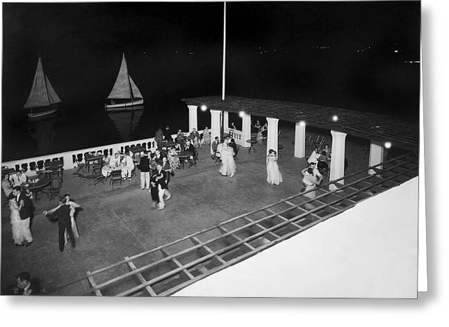 Dancing Pavilion Greeting Cards - Nighttime Dancing In Bermuda Greeting Card by Underwood Archives