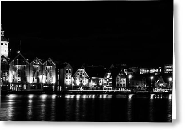 Nighttime In Stavanger Greeting Card by Arve Sirevaag