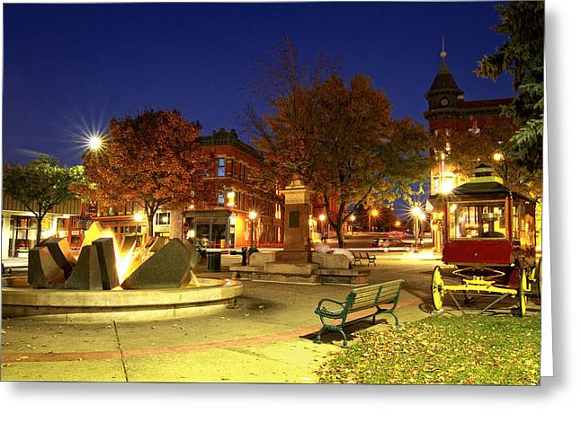 City Lights Greeting Cards - Nighttime on Northfields Bridge Square Greeting Card by Joe Miller
