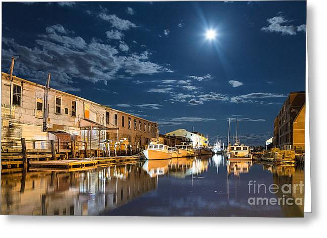 Old Maine Houses Greeting Cards - Nighttime on the Old Port Waterfront Greeting Card by Benjamin Williamson