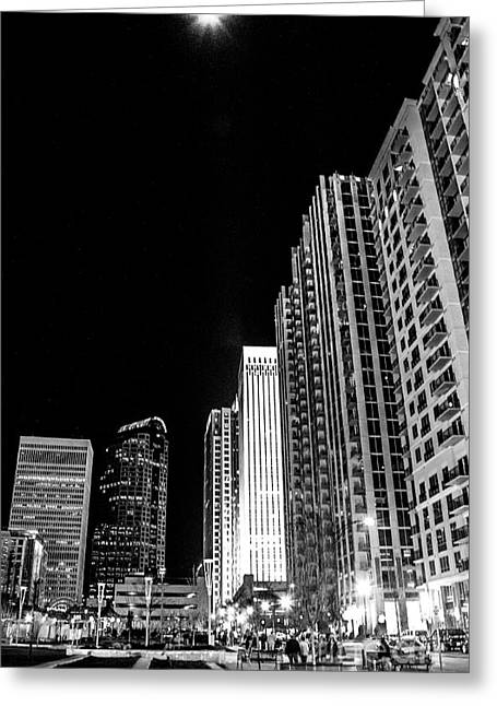 Charlotte Homes Greeting Cards - Nighttime Uptown Charlotte  Greeting Card by Robert Yaeger