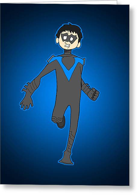 Supergirl Digital Art Greeting Cards - Nightwing classic blue Greeting Card by Chris Thomasma