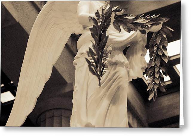 Nike Goddess of Victory Sepia Greeting Card by Linda Phelps