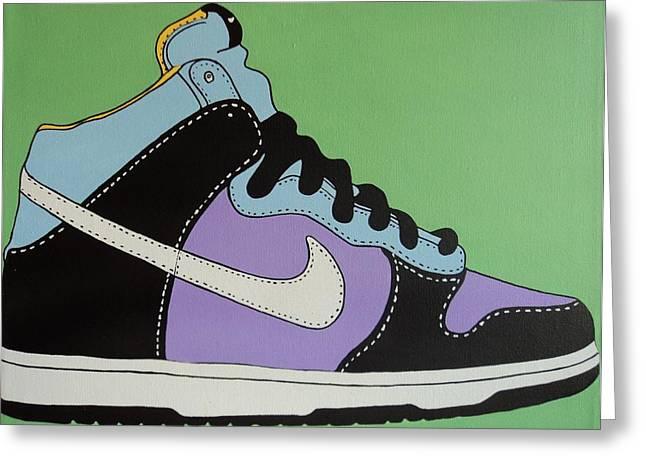 Nike Paintings Greeting Cards - Nike Shoe Greeting Card by Grant  Swinney