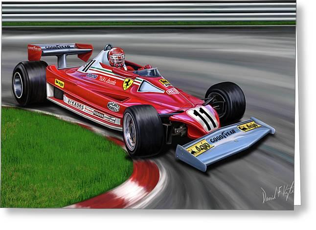 Grand Prix Greeting Cards - Niki Lauda F-1 Ferrari Greeting Card by David Kyte