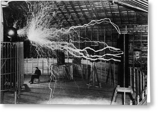 Nikola Tesla - Bolts Of Electricity Greeting Card by War Is Hell Store