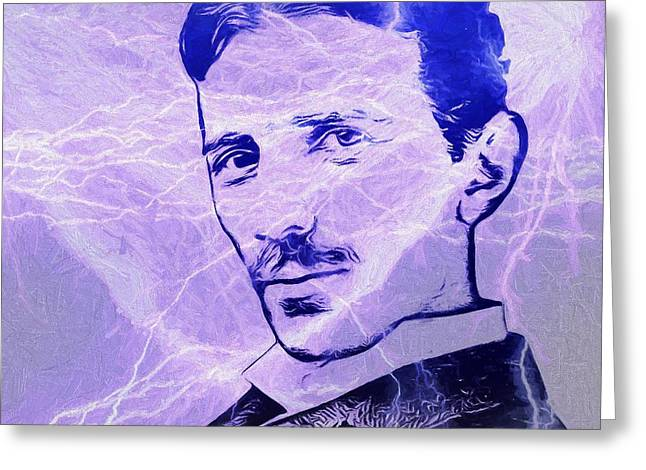 Nikola Tesla Electric Mind Greeting Card by Dan Sproul