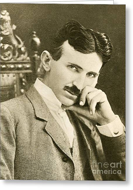 Nikola Tesla, Serbian-american Inventor Greeting Card by Photo Researchers