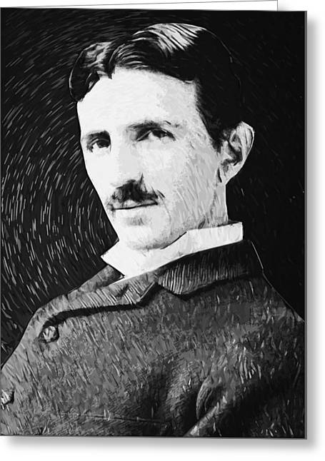 Cog Greeting Cards - Nikola Tesla Greeting Card by Taylan Soyturk