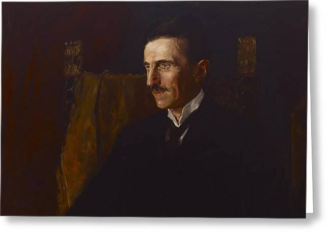 Nikola Tesla Greeting Card by Vilma Lwoff-Parlaghy