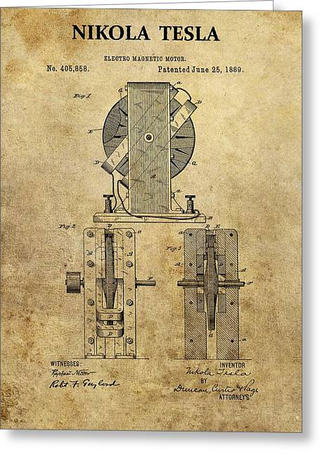 Nikola Tesla's Electro Magnetic Motor Greeting Card by Dan Sproul