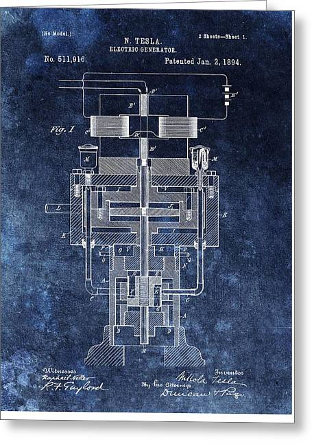 Electrical Mixed Media Greeting Cards - Nikola Teslas Generator Patent Greeting Card by Dan Sproul