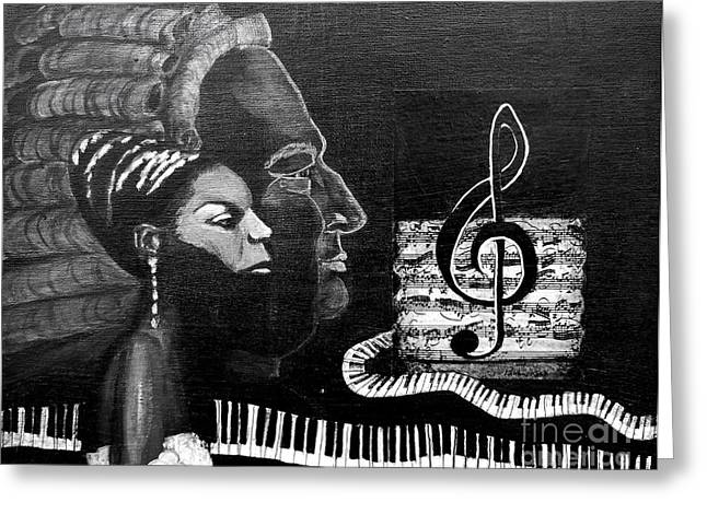 Nina Simone Greeting Cards - Nina Simone BW Greeting Card by Pauline Ross