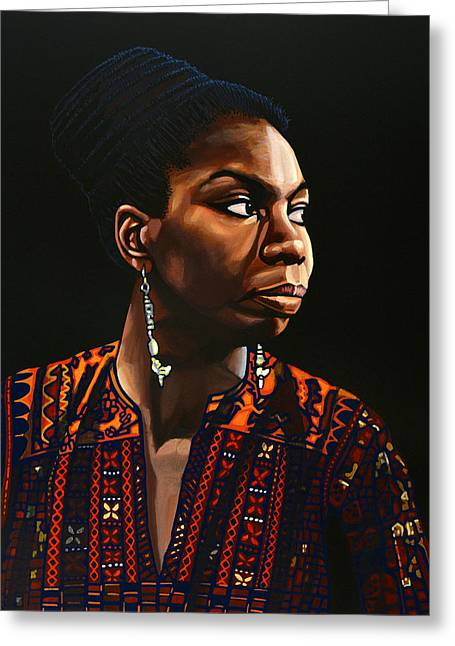 Nina Simone Painting Greeting Card by Paul Meijering