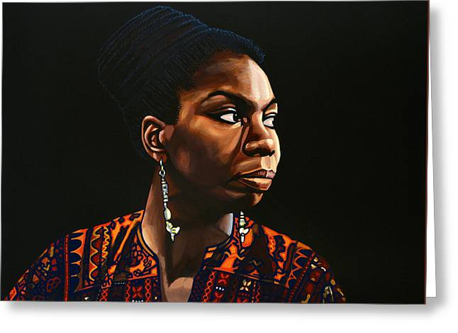 Just Greeting Cards - Nina Simone Greeting Card by Paul Meijering