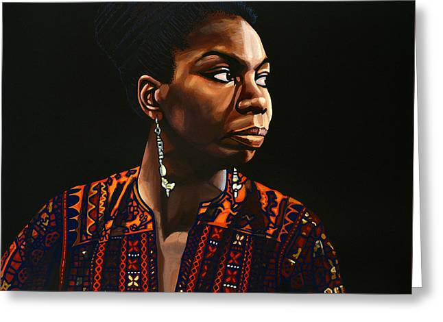 Famous Greeting Cards - Nina Simone Greeting Card by Paul Meijering