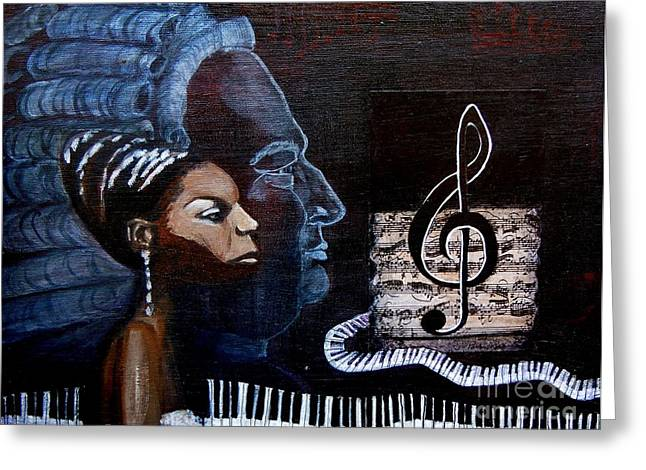 Pianist Mixed Media Greeting Cards - Nina Simone Greeting Card by Pauline Ross