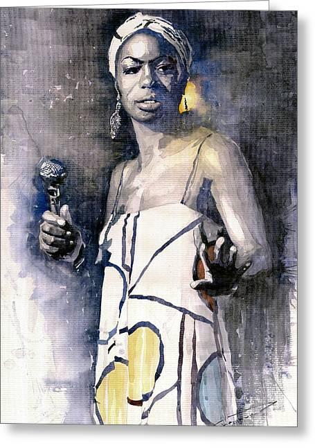 Nina Simone Greeting Card by Yuriy  Shevchuk