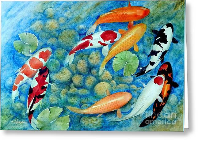 Koi Paintings Greeting Cards - Nine Koi Greeting Card by Robert Hooper
