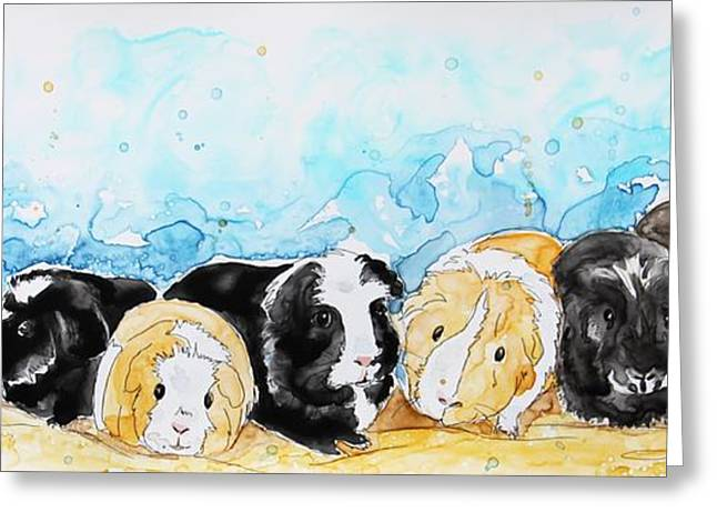 Nine Little Guinea Pigs Greeting Card by Shaina Stinard