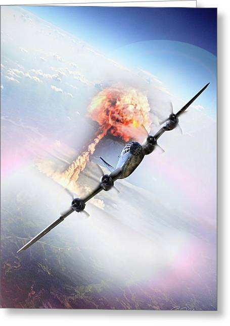 Enola Gay Greeting Cards - Nine Miles Down Range Greeting Card by Peter Chilelli