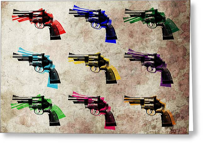 Nine Revolvers Greeting Card by Michael Tompsett