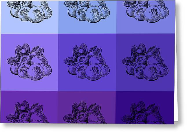 Blueberries Drawing Greeting Cards - Nine Shades Of Blueberries Greeting Card by Irina Sztukowski